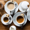 tea and coffee on a wooden table